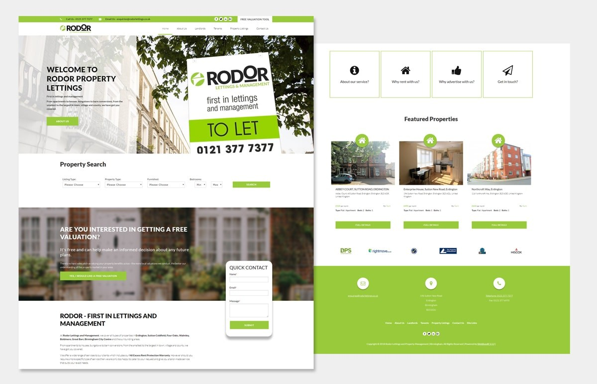 Rodor Lettings Property management web design